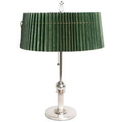 Swedish Art Deco Silver Plated Lamp by Elis Bergh for C.G. Hallberg