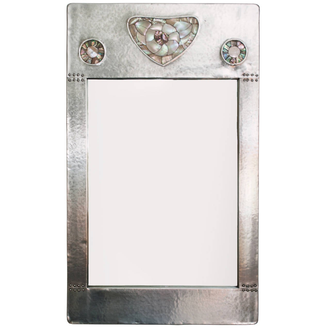 Arts and crafts mirrors - Swedish Arts Crafts Pewter Mirror With Mother Of Pearl Decorations