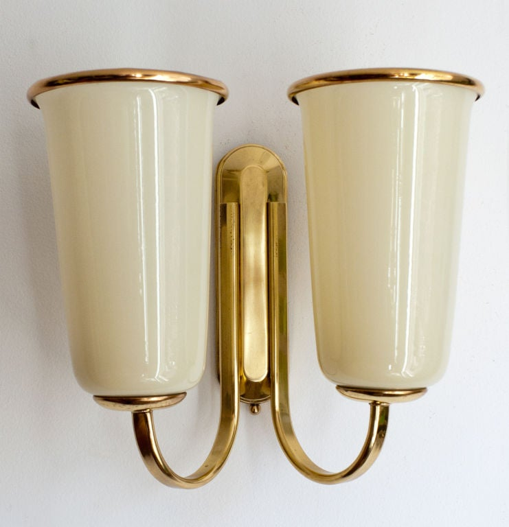 Double Shade Wall Sconces : Pair of Scandinavian modern double shade brass sconces. at 1stdibs