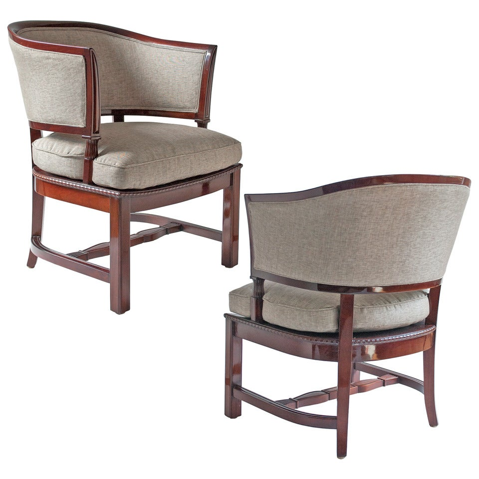 G. H. Wrange Art Deco Scandinavian Modern Mahogany Armchairs