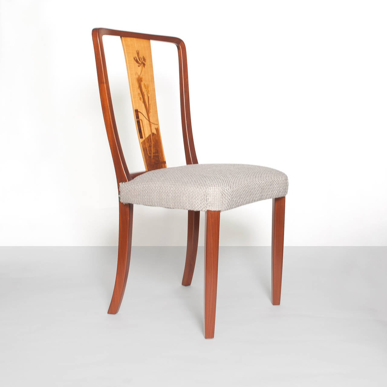 Marquetry Scandinavian Modern Erik Chambert Set of Four Dining Chairs For Sale