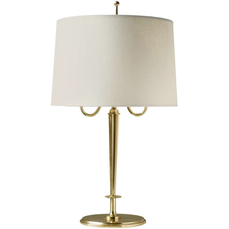 swedish art deco table lamp in solid polished brass with. Black Bedroom Furniture Sets. Home Design Ideas