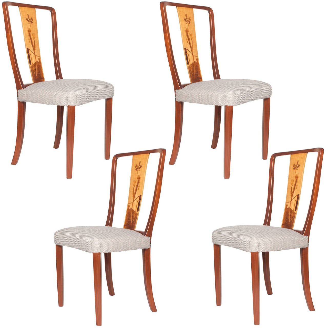 Scandinavian Modern Erik Chambert Set of Four Dining Chairs