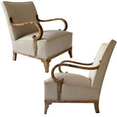 Pair of elegant Swedish Art Deco chairs by Erik Chambert 1930