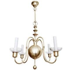 Swedish Art Deco brass chandelier Elis Bergh for C. G. Hallberg, Stockholm.
