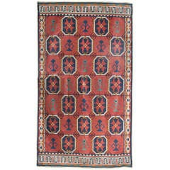 "Large Scandinavian Modern Wool Flat-Weave ""Rollakan"" Rug with Geometric Pattern"