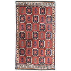"Large Scandinavian Modern Wool Flat-Weave ""Rollakan"" Rug with Geometric Pattern"