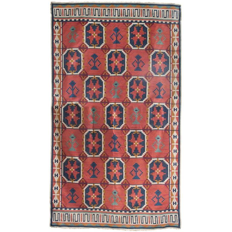"Large Scandinavian Modern Wool Flat-Weave ""Rollakan"" Rug with Geometric Pattern For Sale"