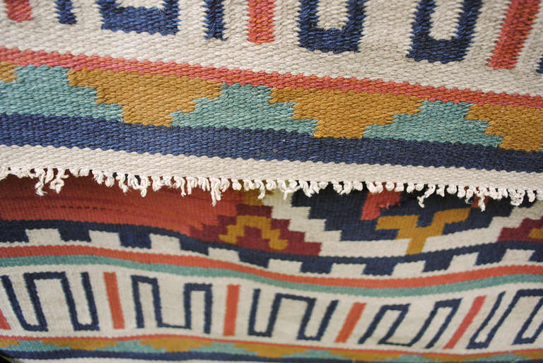 20th Century Large Scandinavian Modern Wool Flat-Weave