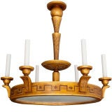Swedish Art Deco Gold Wood Trompe L'oeil Six-Arm Chandelier