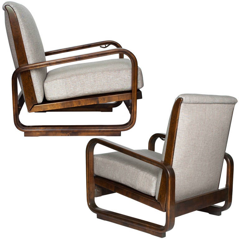 Pair Of Swedish Art Deco Modernist Lounge Chairs By Erik