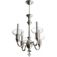 Delicate Swedish Art Deco pewter and crystal 4-arm chandelier