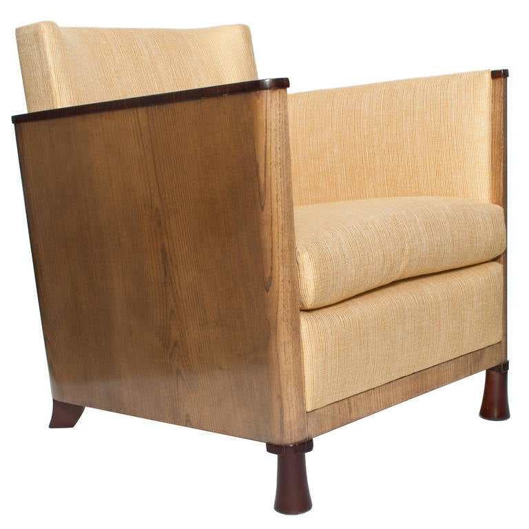 Scandinavian Modern Swedish Art Deco Lounge Chair with Veneered Sides and Back For Sale