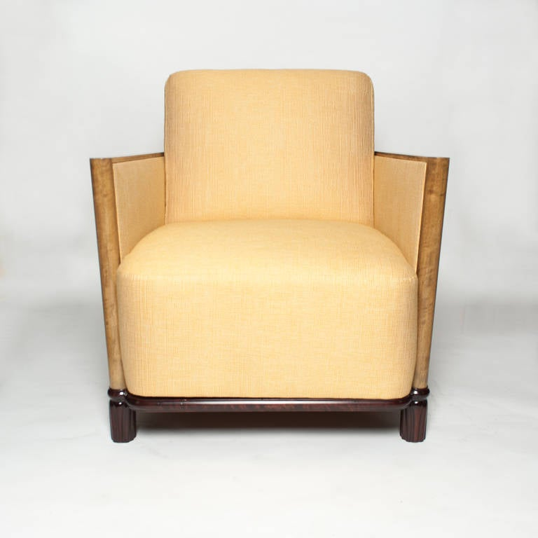 Scandinavian modern art deco lounge chair with elmwood and mahogany for sale at 1stdibs - Deco lounge oud en modern ...
