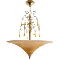 Swedish Art Deco etched glass chandelier by Bohlmarks 1927