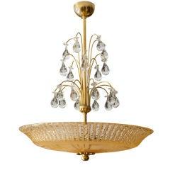 Scandinavian Modern Orrefors Swedish chandelier etched meander pattern