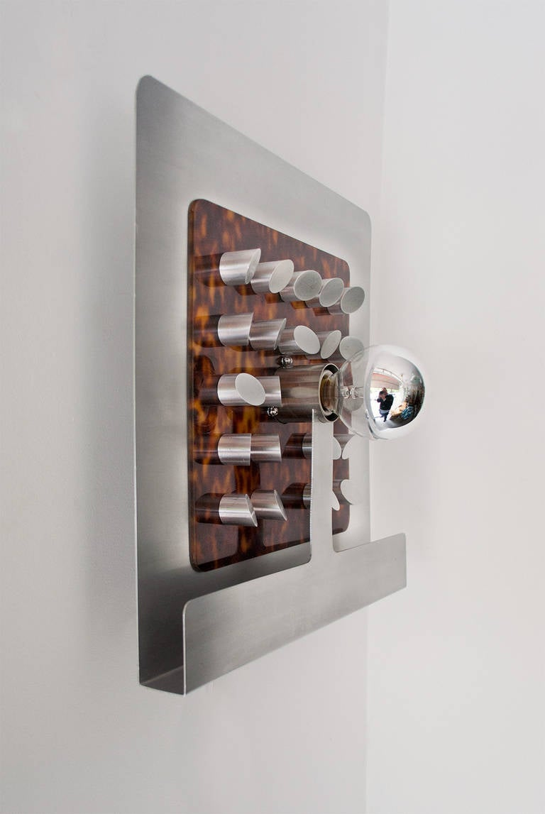 Contemporary Italian Wall Sconces : Pair of Large Italian Designer Faux Tortoise and Aluminum Sconces For Sale at 1stdibs
