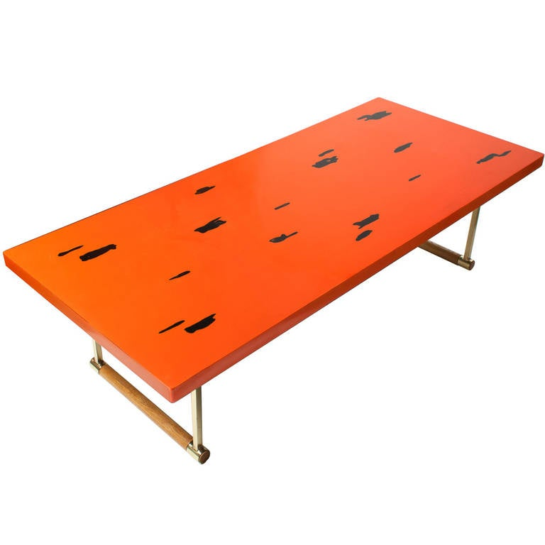 Japanese MidCentury Modern Coffee Table in Negoro Lacquer Technique