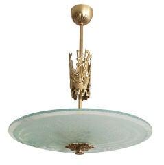 Scandinavian Modern, Atelier Torndahl etched glass and brass pendant.