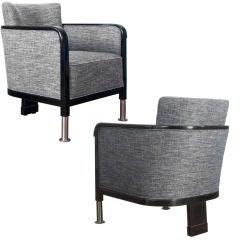 Sleek pair of Swedish Art Deco bergères by Otto Schulz for Boet