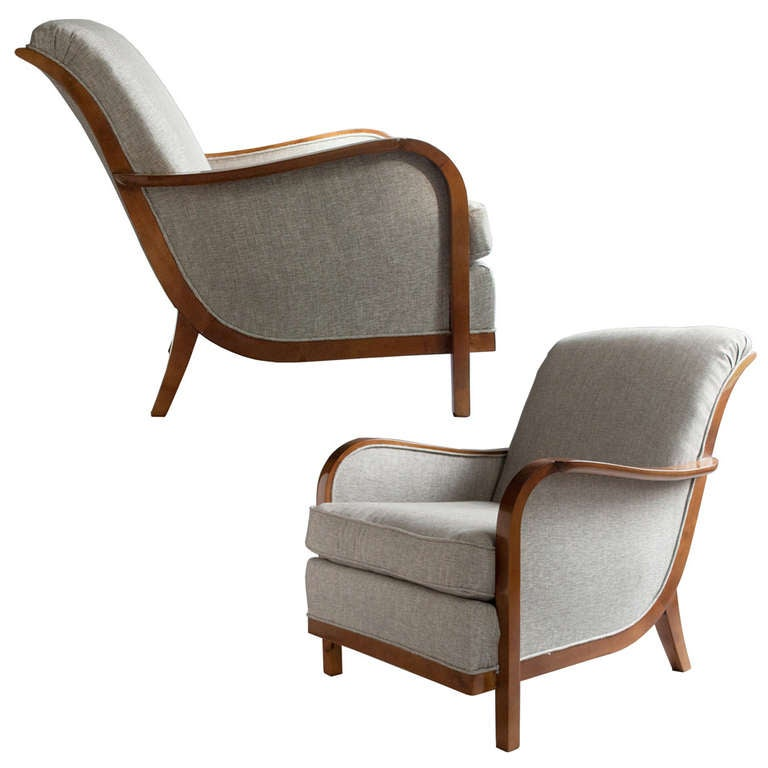 Pair Of Swedish Art Deco Lounge Chairs By Wilhelm Knoll