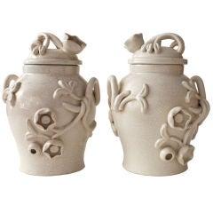 Pair of Swedish Art Deco covered urns by Eva Jancke Bjork