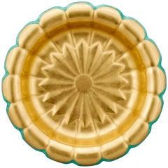 Large Swedish Art Deco Wilhelm Kage Ceramic Bowl Gold and Green