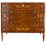 Elegant Swedish Art Deco chest of drawers with floral marquetry
