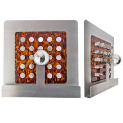 Pair of Large Italian Designer Faux Tortoise and Aluminum Sconces