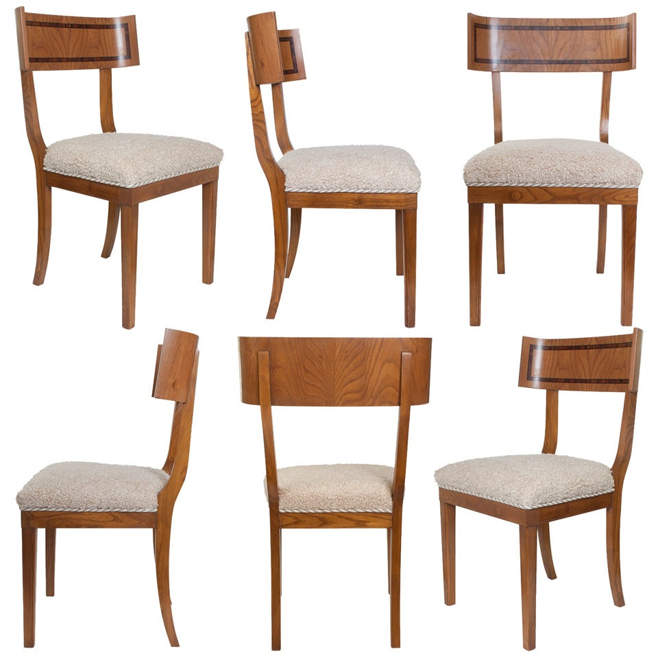 Set of six swedish art deco klismos dining chairs in elm for Elm furniture