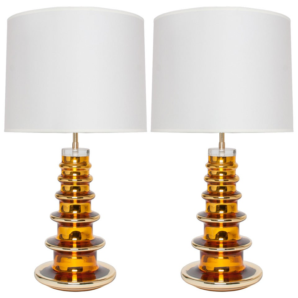 pair of swedish mid century gold mercury glass lamps by gustav leek. Black Bedroom Furniture Sets. Home Design Ideas