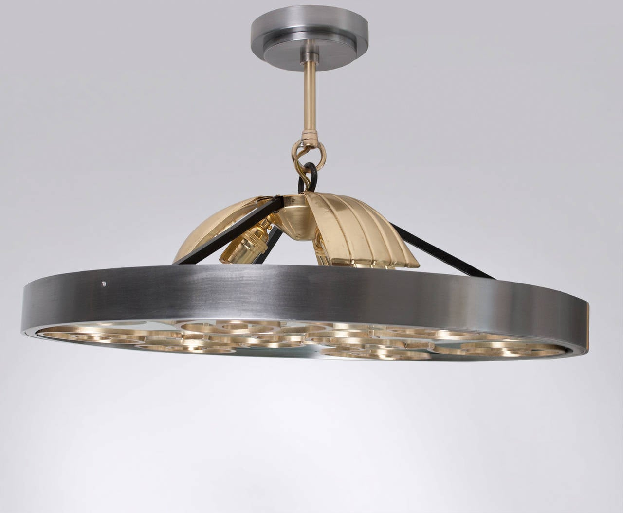 Swedish art deco fixture in steel and brass by lars for Swedish light fixtures