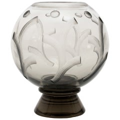 Scandinavian Modern Art Deco Etched Glass Vase by Simon Gate for Orrefors