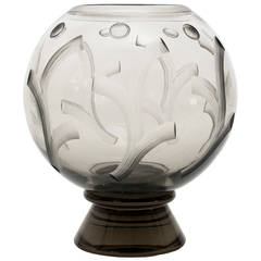 Scandinavian Modern Art Deco etched glass vase by Simon Gate for Orrefors.