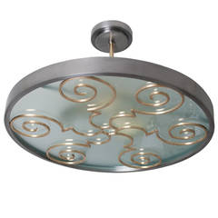 Swedish Art Deco Fixture in Steel and Brass by Lars Holmstrom