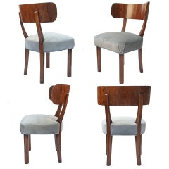 4 Swedish art deco dining chairs by Axel Einar Hjorth for NK Stockholm