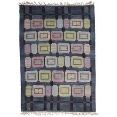 Swedish art deco flat weave rug by handarbetets vanner stockholm for sale at 1stdibs - Deco moderne flat ...