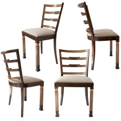 4 Swedish Art Deco dining chairs by Erik Chambert ca. 1930