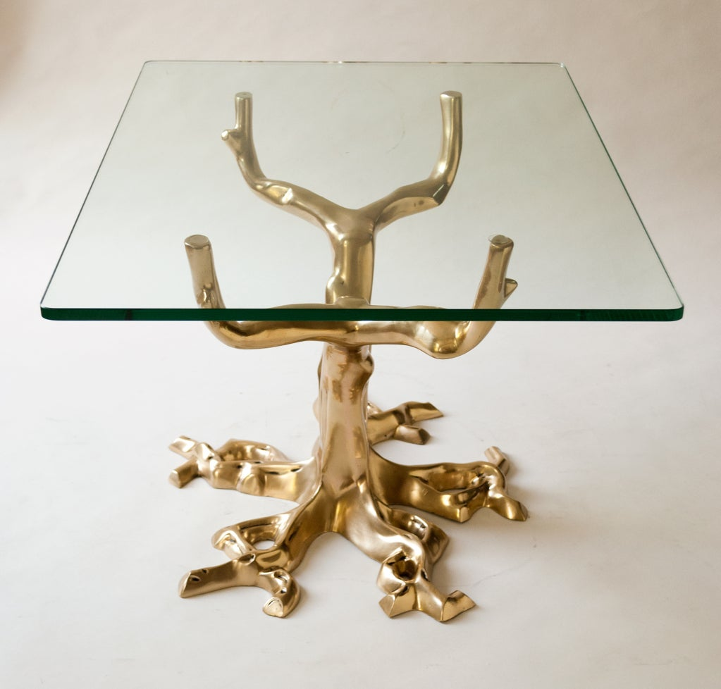 Mid-Century Modern Fabulous Pair of Side Tables of Cast Bronze in Tree Forms, 1970 For Sale