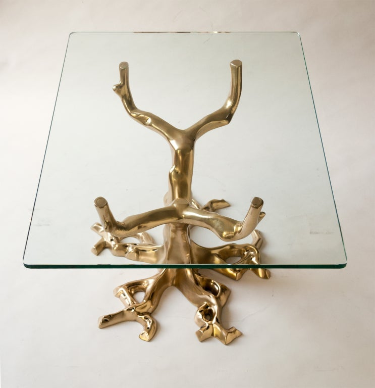 Fabulous Pair of Side Tables of Cast Bronze in Tree Forms, 1970 In Excellent Condition For Sale In New York, NY