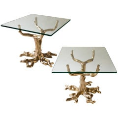 Fabulous pair of side table of cast bronze in tree forms, 1970
