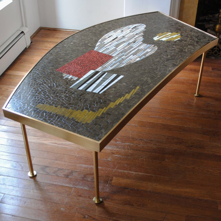 Large Mid-century Mosaic And Brass Coffee Table Abstract