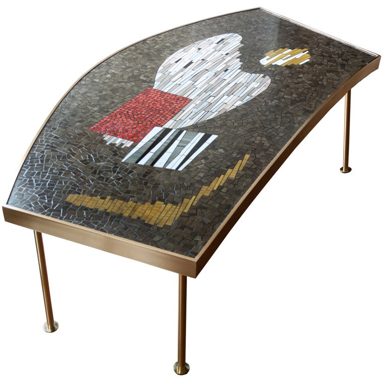 Large mid century mosaic and brass coffee table abstract for Mosaic coffee table designs