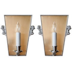 Pair of Swedish Art Deco Brass and Pewter Sconces C.G. Hallberg