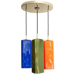 Large Italian Chandelier with Jewel Colored Glass Shades, 1950s