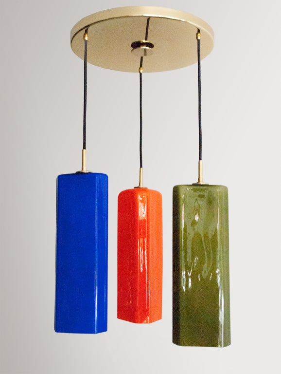 Pendant Lighting Colored Glass Shade : Large italian chandelier with jewel colored glass shades
