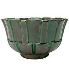 Swedish Art Deco glazed ceramic footed bowl by Upsala Ekeby