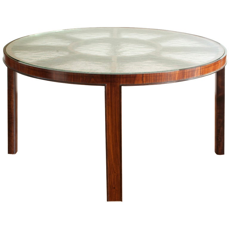 Swedish Art Deco Rosewood Coffee Table Original Textured