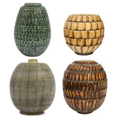 Group Of Swedish Art Deco Studio Vases by Gertrud Lonegren