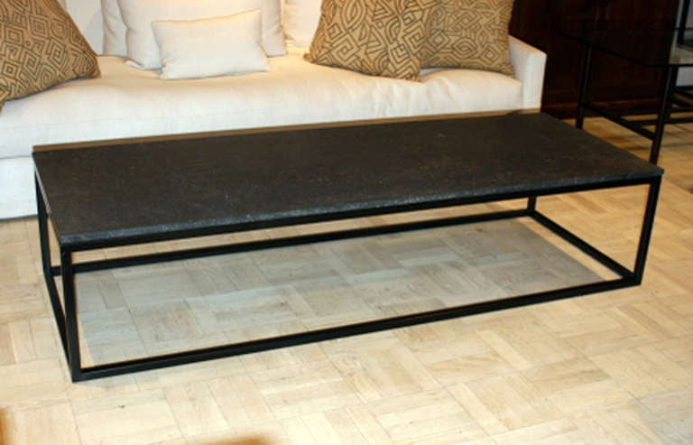 Captivating Belgian Blue Stone Top Coffee Table On Tubular Blackened Steel Base 2